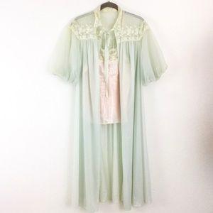 VTG 60s Sheer Romantic Lace Long Sleepwear Robe